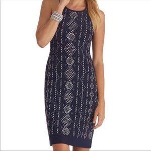 White House Black Market Navy Studded Dress Size M